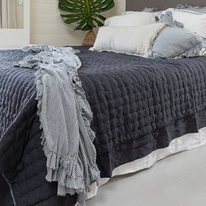 Bask Hemstitched Linen Quilt - Charcoal