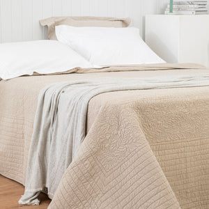 Marcella Lily Leaf Cotton Bedcover - Taupe
