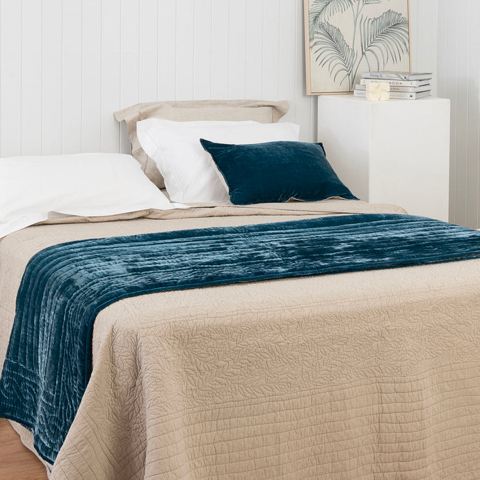 Lux Silk Velvet Throw - Teal