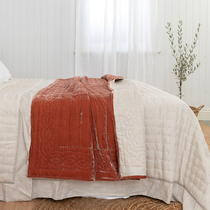 Lux Silk Velvet Throw - Terracotta