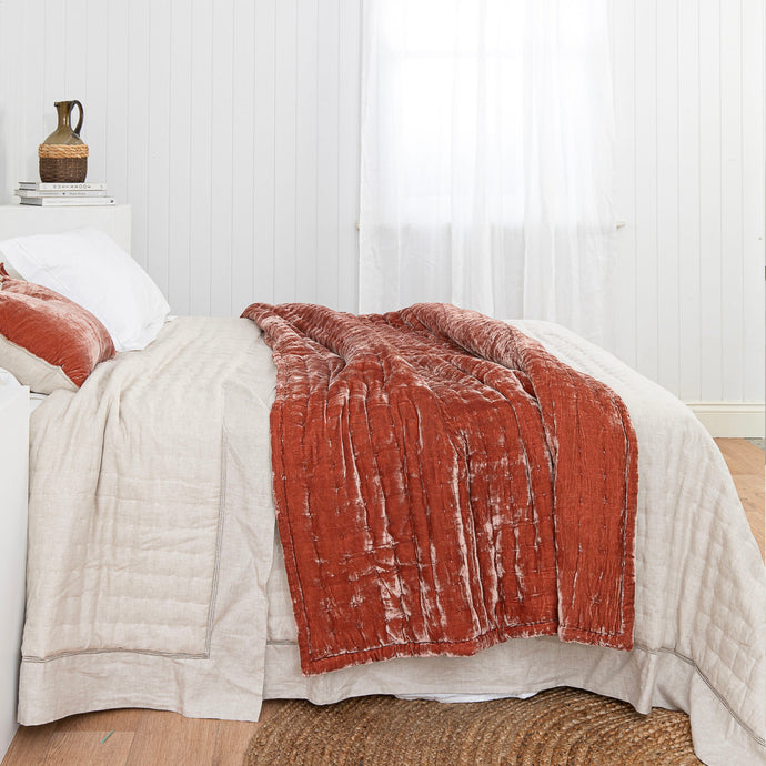 Tempt Silk Velvet Throw - Terracotta