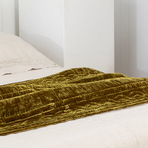 Lux Silk Velvet Throw - Antique Gold