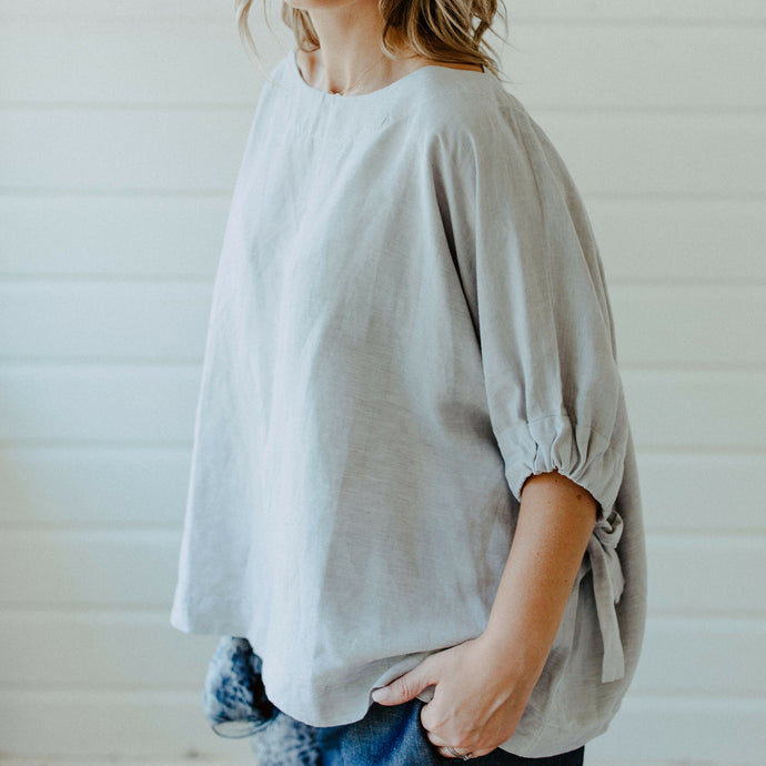 Betsy B Linen Top - Oyster Grey