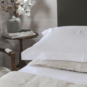 Hemstitched Cotton Sheet Sets - White