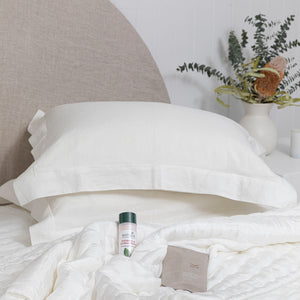 Grace Embroidered Linen Pillowcases - White