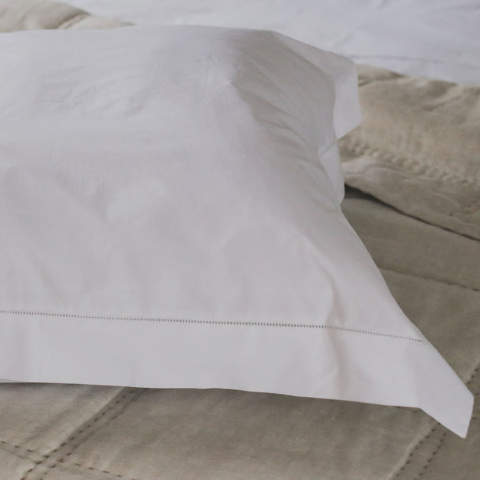 Hemstitched Cotton Euro Covers - White