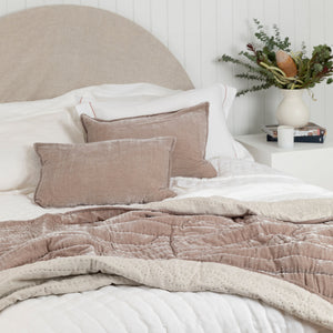 Lux Silk Velvet Throw - Taupe