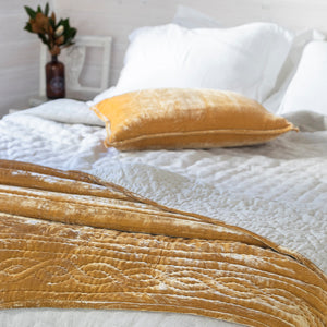 Lux Silk Velvet Throw - Mustard