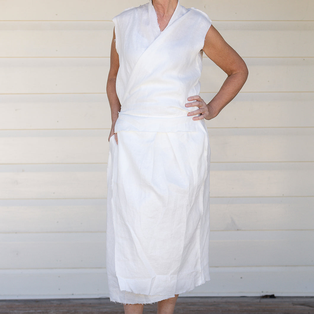 Phoebe Linen Wrap Dress - Ivory