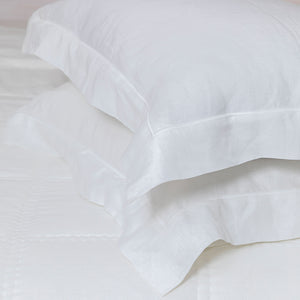 Grace Linen Embroidered Pillowcases - White