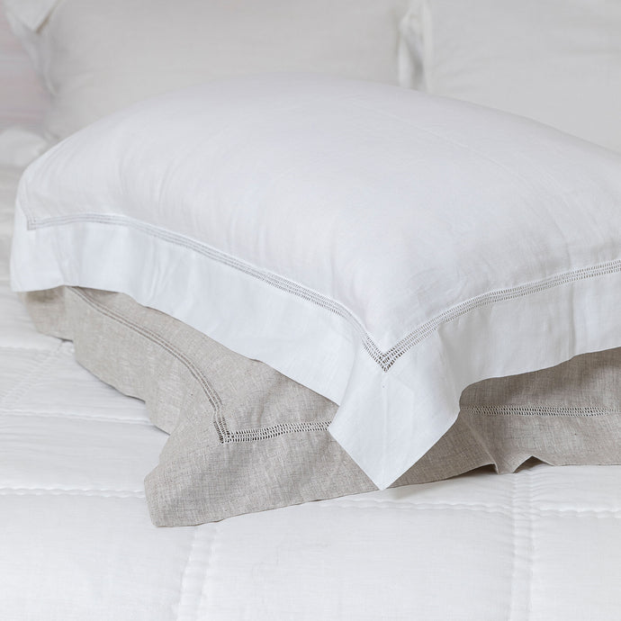 Bask Hemstitch Linen Pillowcases - White