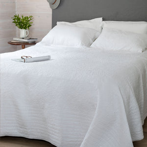 Marcella Lily Leaf Cotton Bedcover - Blanche