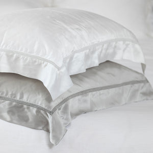 Deluxe Satin Silk Hemstitch Pillowcases - Navy