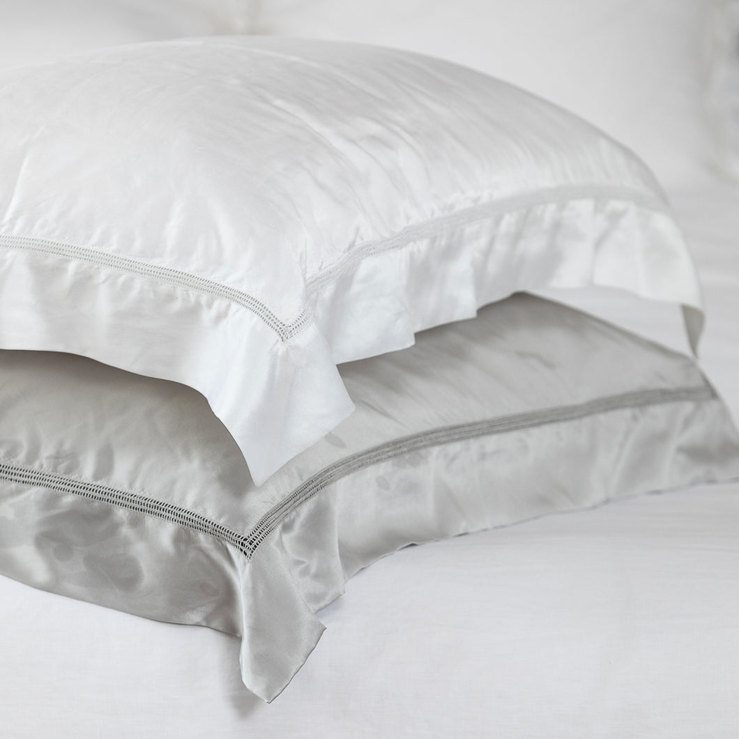 Sublime Satin Silk Hemstitch Pillowcases - White