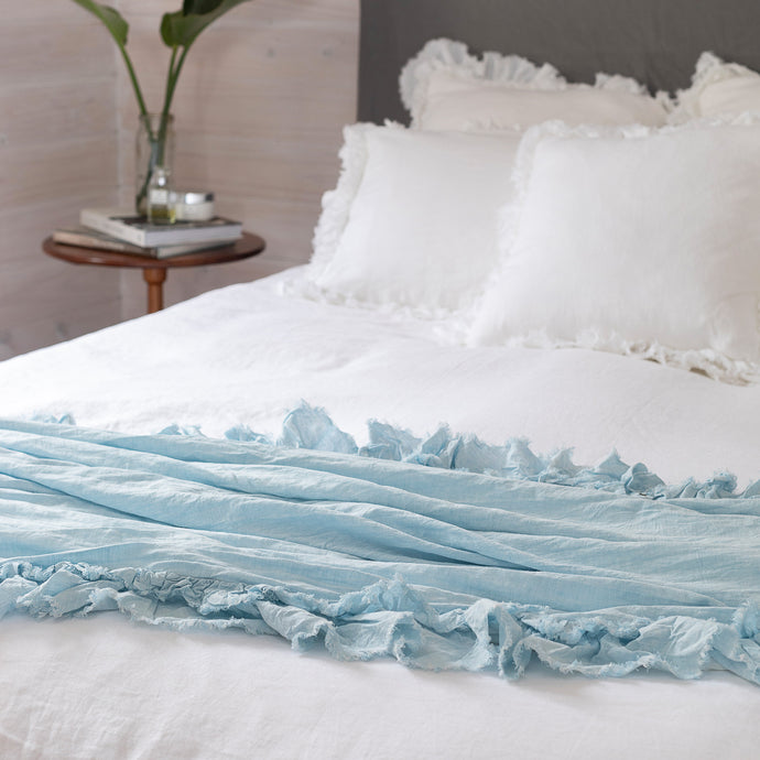 Isle Ruffled Linen Throw - Pale Blue