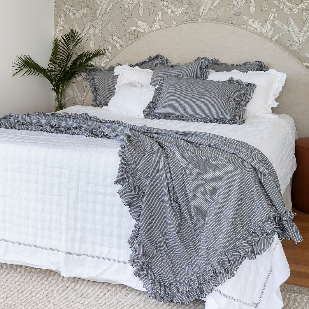 Isle Ruffled Linen Throw - Ravello Stripe