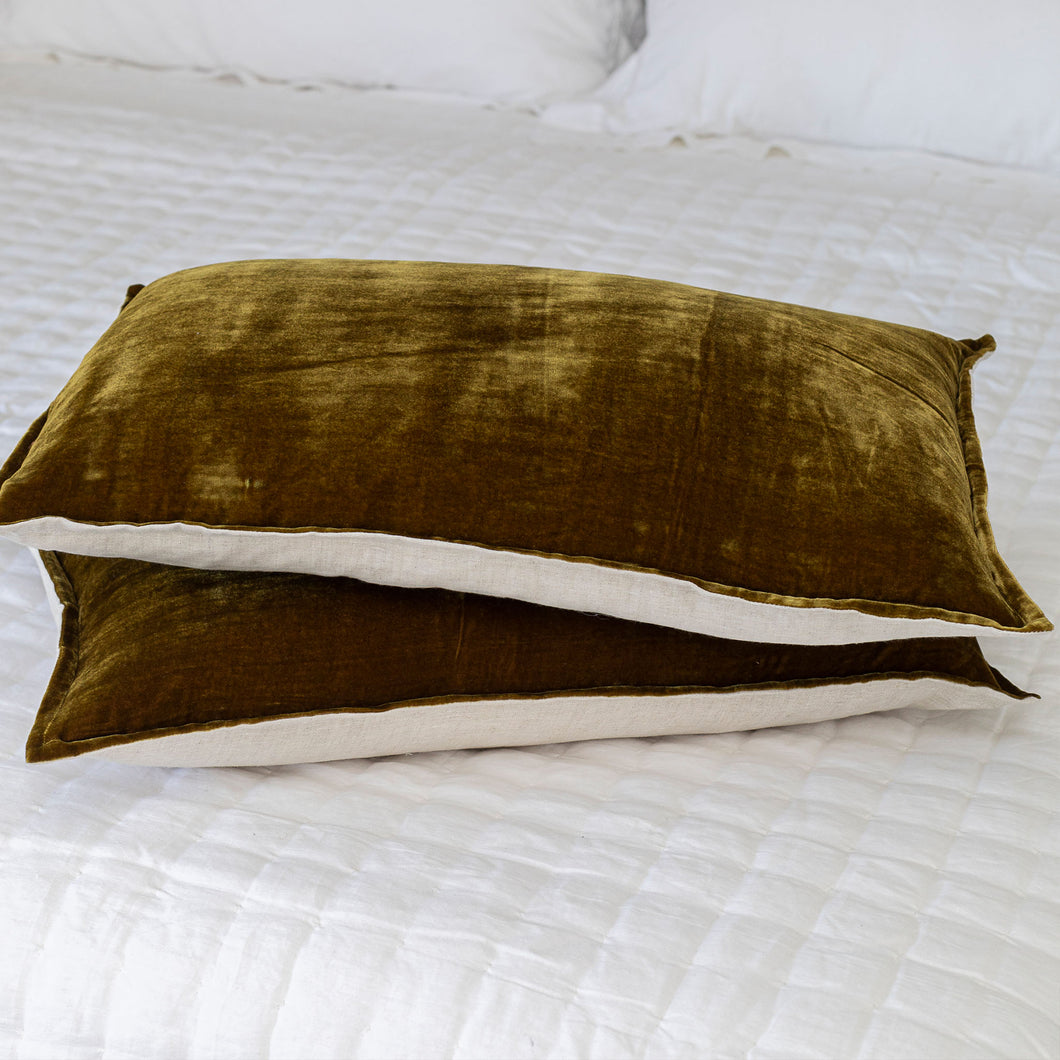 Silk Velvet & Linen Lumbar Cushion - Antique Gold