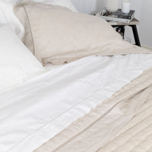 Hemstitched Cotton Sheets - White