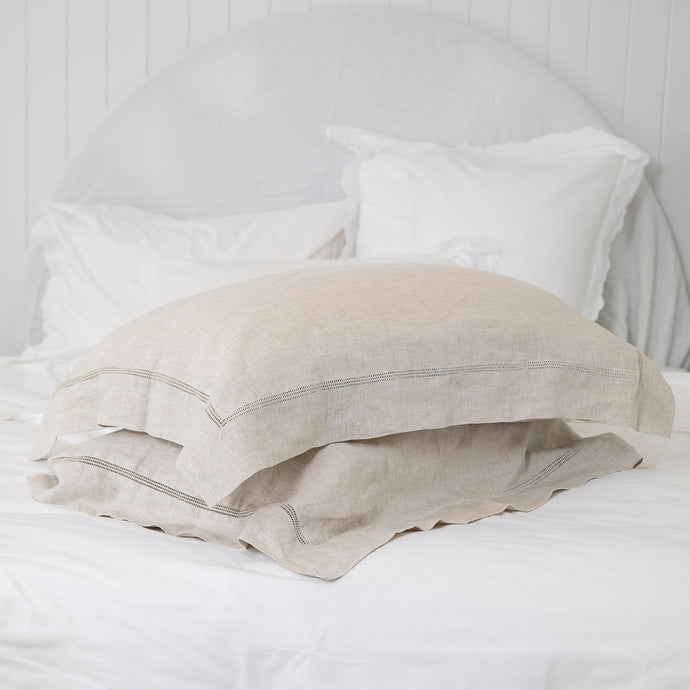 Bask Hemstitched Linen Pillowcases - Natural