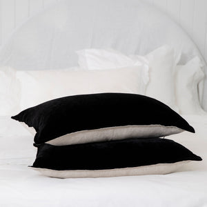 Silk Velvet & Linen Lumbar Cushion - Black