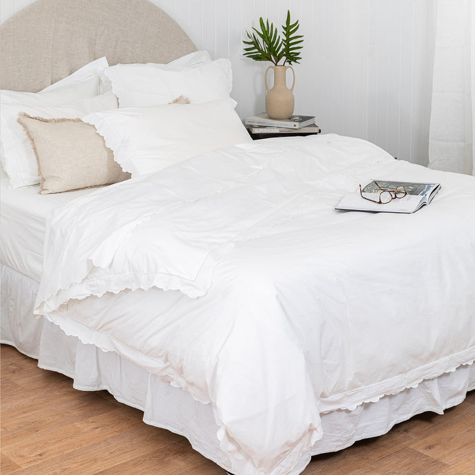 Scalloped Edge Cotton Duvet Cover - Queen