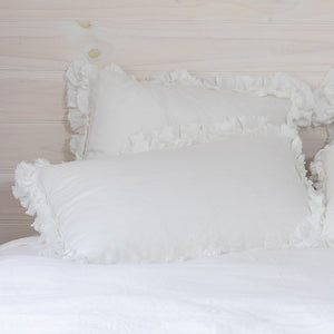 Isle Ruffled Linen Pillowcases - White