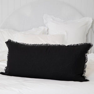 Frayed Edge Long Linen Lumbar - Black