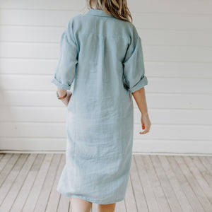 Sabine Linen Shirtdress - Cornflower Blue