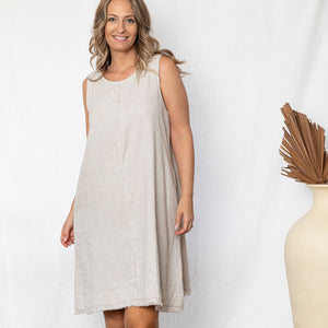 Chloe Linen Shift Dress - Stone