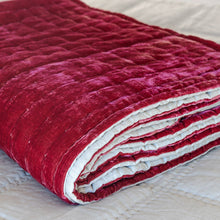 Tempt Silk Velvet Throw - Ruby