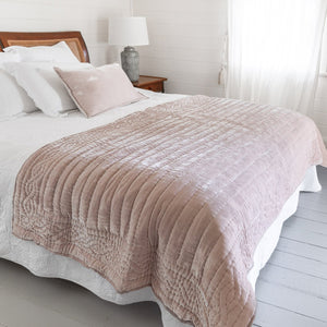 Lux Silk Velvet Throw - Pale Pink