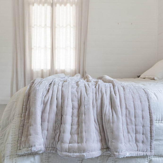 Tempt Silk Velvet Throw - Oyster