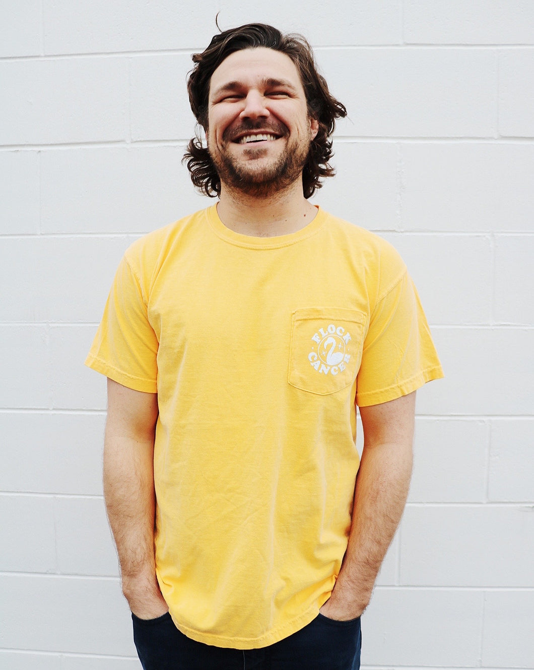 Limited Edition Flock Cancer Pocket Tee Bright Yellow
