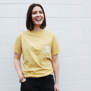 Limited Edition Flock Cancer Mustard Pocket Tee