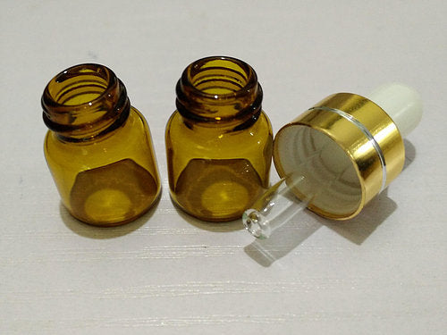 Amber Glass Dropper Bottles 1ml  10x bottles for $12.00
