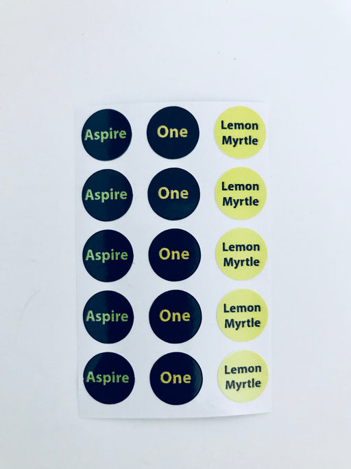 Aspire, One & Lemon Myrtle Bottle Top Labels