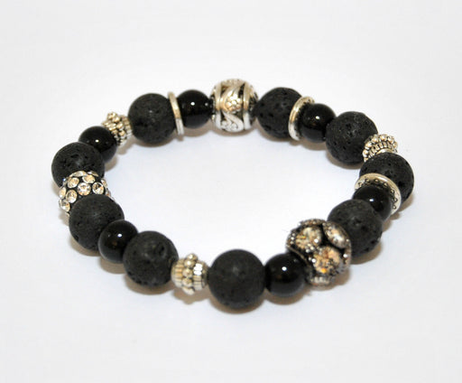 Lava Bead Oil Bracelets 'Black & Bling'