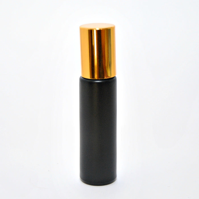 Black Thick Rollerball Bottle with Gold Cap