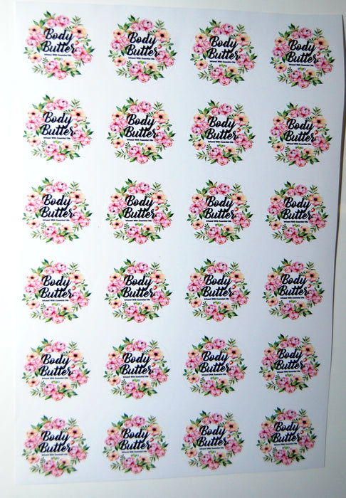 Body Butter Label Sheets