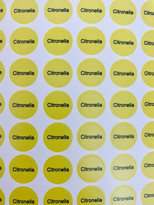 Citronella Bottle Top Labels