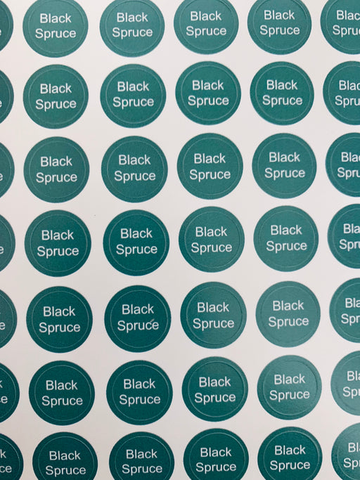 Black Spruce Bottle Top Labels