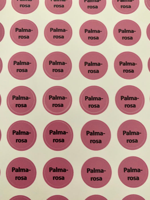 Palmarosa Bottle Top Labels