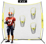 PodiuMax Portable Football Trainer Throwing Net, 8ft x 8ft with 5 targets for QB training