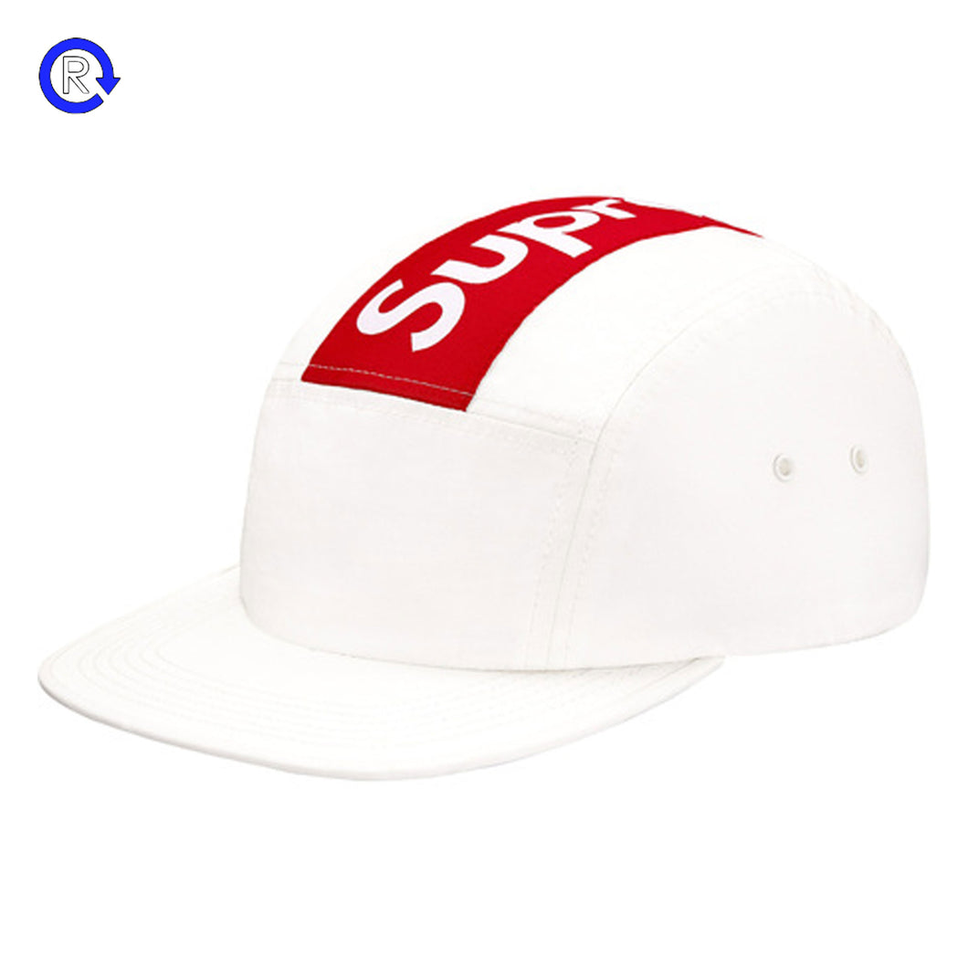 Supreme White Top Panel Stripe Camp Cap (FW16)