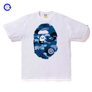 Bape White Blue Camo Big Ape Head Tee
