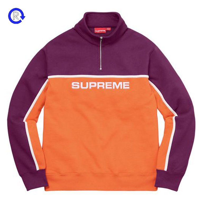 Supreme Burgundy/Orange 2-Tone Half Zip Sweatshirt (FW17)
