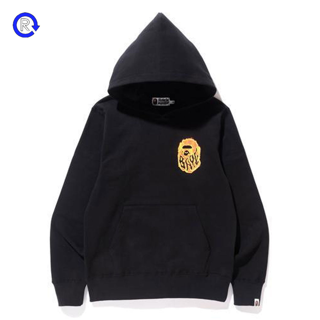 A Bathing Ape Bape Black Burn Pullover Hoodie