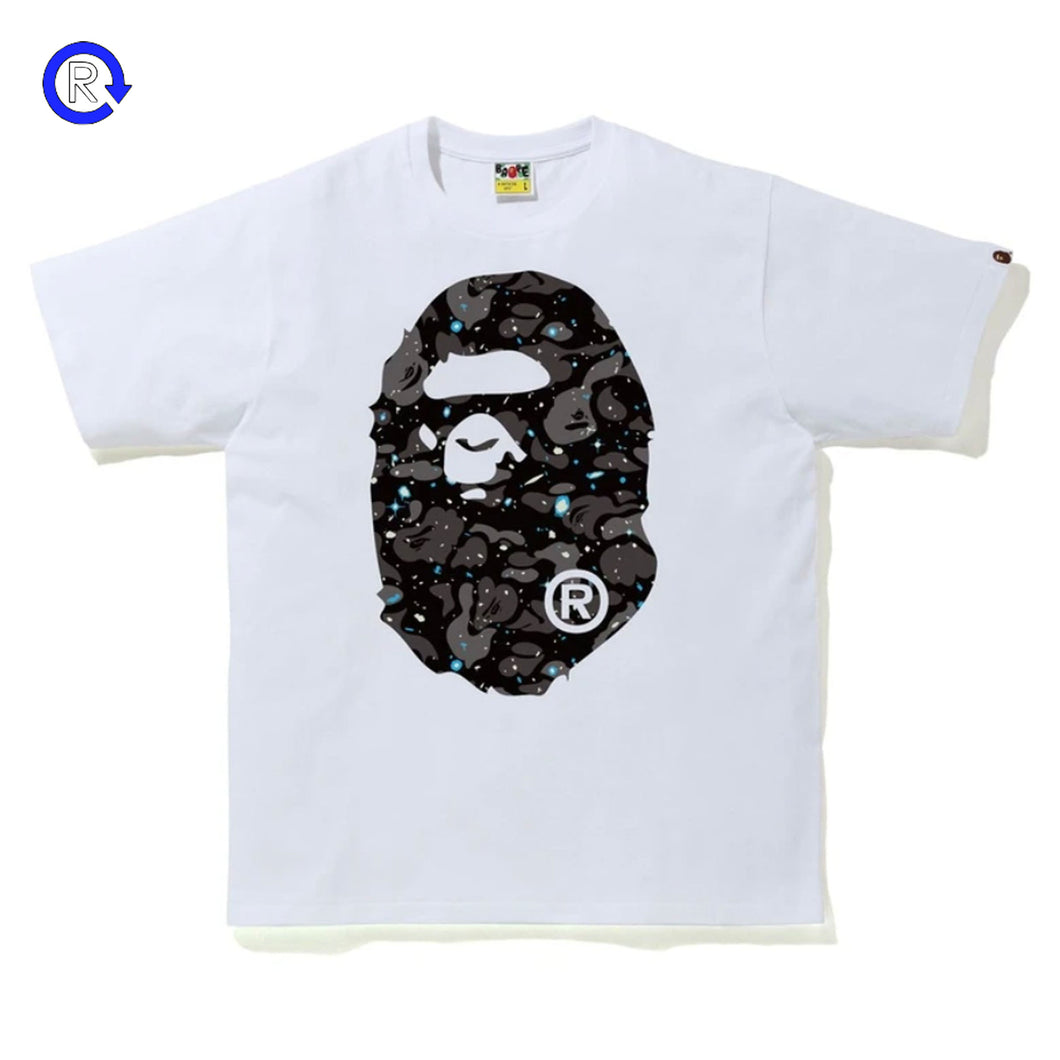Bape White Space Camo Big Ape Head Tee