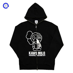 Bape x Kaws x Original Fake Black Full Zip Hoodie