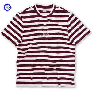 'Burgundy' Guess x Sean Wotherspoon Striped Short Sleeve